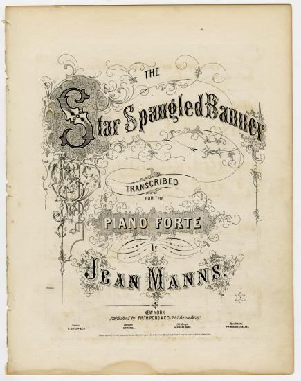 Elaborate sheet music color with twisting ivy designs and cursive lettering