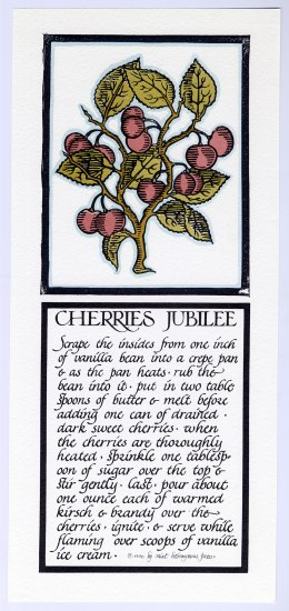 A lithograph of a recipe for cherries jubilee. The instructions are written in a calligraphic style and look more like a story than a recipe. The recipe sits on the bottom of the lithograph while the top portion depicts part of a cherry tree with fruit and leaves.