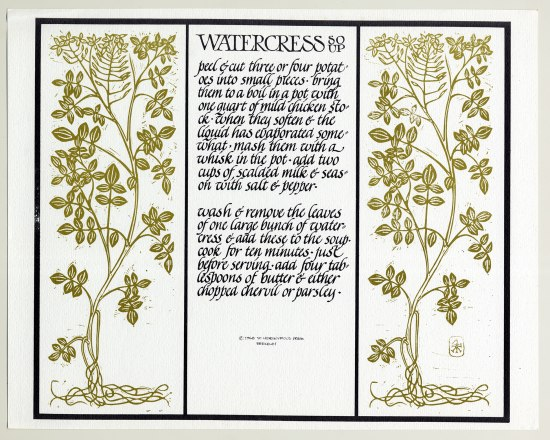 A lithograph of a recipe for watercress. The instructions are written in a calligraphic style and look more like a story than a recipe. The text is in the middle of the page, flanked by two illustrations of the watercress plant.
