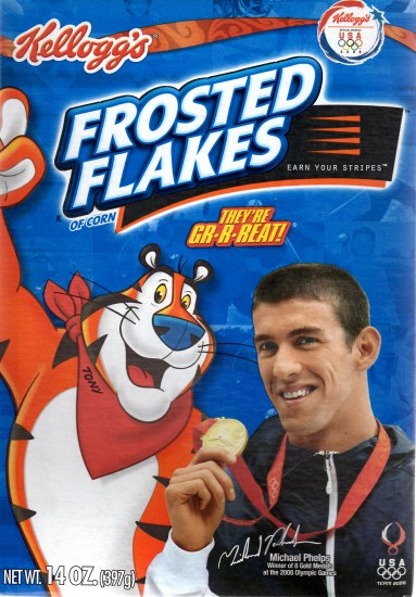 A box of Frosted Flakes with Michael Phelps holding a gold medal on the front