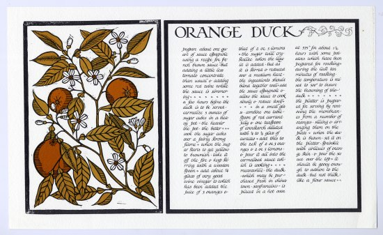 A lithograph of a recipe for orange duck. The instructions are written in a calligraphic style and look more like a story than a recipe. To the left of the text on the page there is an illustration of oranges on the branch with leaves and orange blossoms.