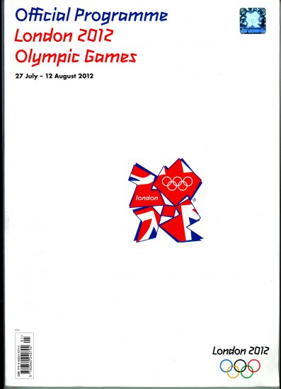 "A white program with writing in blue and red with basic information and a logo in the center with a stylized ""2012"" with the British flag overlaid"