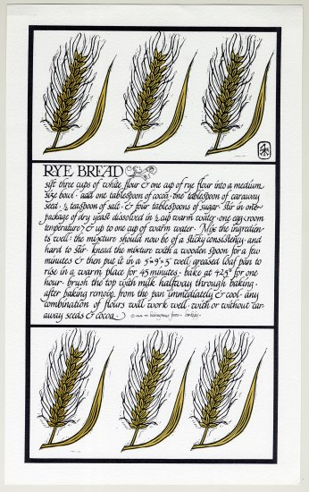 A lithograph of a recipe for rye bread. The instructions are written in a calligraphic style and look more like a story than a recipe. The recipe portion sits in the middle while there are illustrations of head of stalks of rye on the top and the bottom of the page.