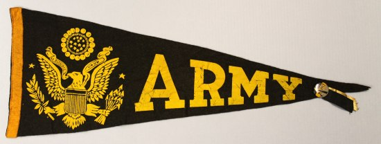 A black pennant with ARMY and an eagle crest on it in yellow