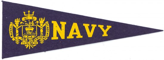 A navy-colored pennant with Navy and a crest in yellow on it