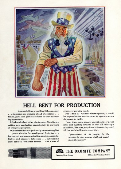"An advertisement. Uncle Sam rolls up his sleeve as he stands in front of a tableau of military vehicles and ships. ""Hell Bent for Production"" reads below."