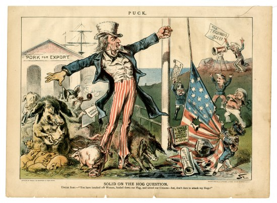 'Uncle Sam' stands tall by a number of pigs as the American flag is torn off the pole by a number of miniature men, with one man standing on a hill overlooking the scene with a telescope