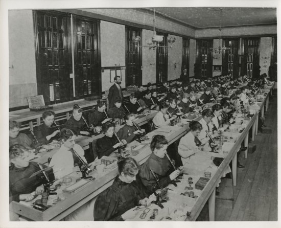 women sit on rows in a large room inspecting specimens with microscopes