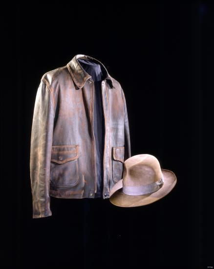 Leather jacket and fedora