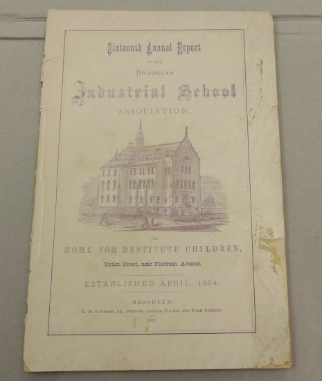 "Photo of document with lavender-colored ink. Includes illustration of a school or church with fence, steeple, and small figures around it. ""Home for Destitute Children."""