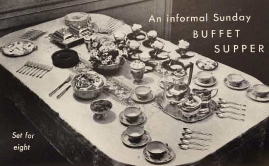 Depiction of a Sunday buffet supper
