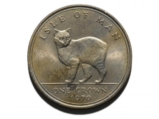 "A silvery-gold colored coin with a tailless cat standing on one side. There is text and ""1970"" stamped on it as well."
