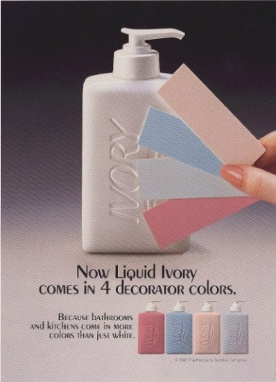 An advertisement announcing Ivory soap pumps now come in four colors: magenta, light blue, robin's egg blue, and tan.