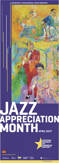 JAM 2017 Poster with text and a colorful painting featuring five musicians