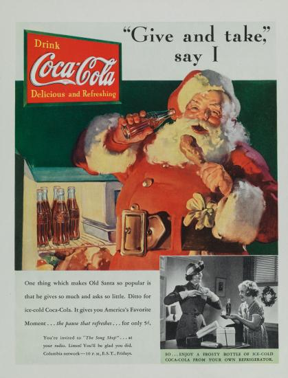 Coke advertisement featuring Santa