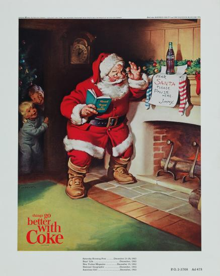 "Coke advertisement featuring Santa reading a note from Jimmy that says ""pause here"""