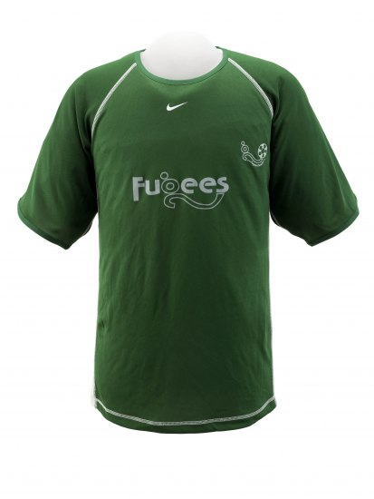 A green short sleeved jersey. It has the team name and a Nike symbol on it in white.
