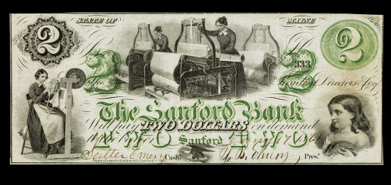 "Bill in black and green ink. Text: ""2, State of Maine, The Sandford Bank."" Images include a vignette of a child, an eagle, women working."