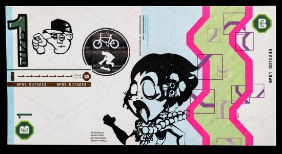 A rectangular piece of paper currency from the UK. There is a stylized illustrated woman with black hair, a flower and a pearl necklace. She is sticking her tongue out with her eyes closed. There is a man's head and hand holding a spray paint can. There is also a black circle with a man on a skateboard and a bicycle. Elsewhere, there are designs in olive, hot pink, and purple. It is worth 1.