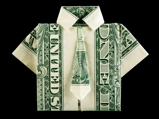 A one dollar bill folded into the shape of a short sleeved shirt and tie