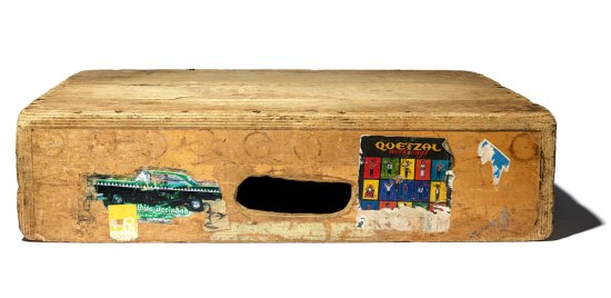 Photograph of Martha Gonzalez's plywood stomp box, called a tarima.
