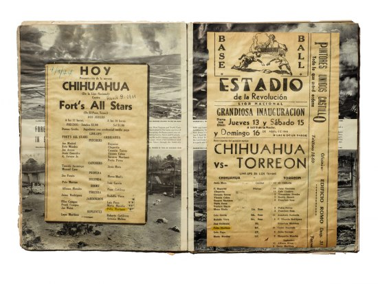 "Interior photo of Martinez's LIFE magazine scrapbook. On sequential pages, Martinez has attached announcements of upcoming baseball games. One is titled ""HOY CHIHUAHUA""; the other is titled ""ESTADIO de la Revolucion."""