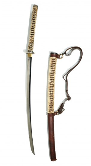 A silver blade with a handle wrapped in some kind of braided khaki colored material. To it's right is a brown leather tube partially covered with the same material that resembles straw. It has a leather strap.
