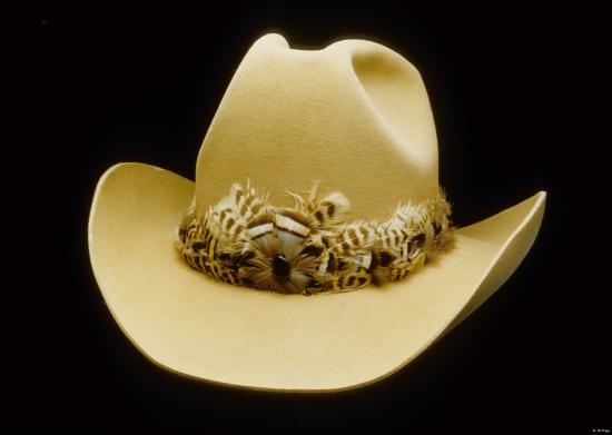 Light brown felt cowboy hat with feathered hatband