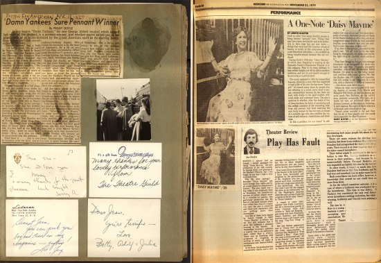 Two pages juxtaposed of newspaper clippings and photographs on old, faded paper. There are some white cards with handwritten text on a page too. There are dark streaks on some of the clippings and on one of the pages.