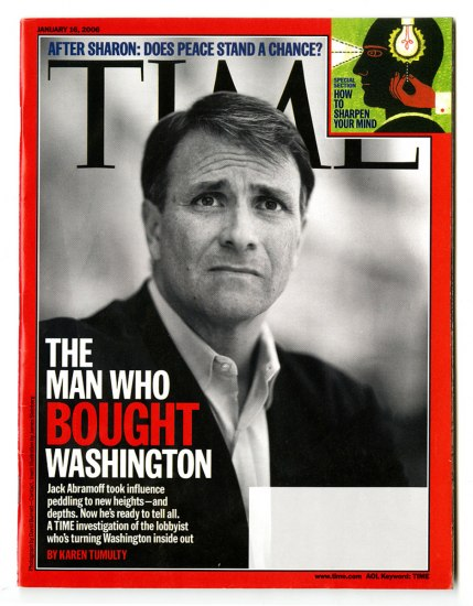Jack Abramoff's black and white portrait on the cover of Time magazine, January 16, 2006