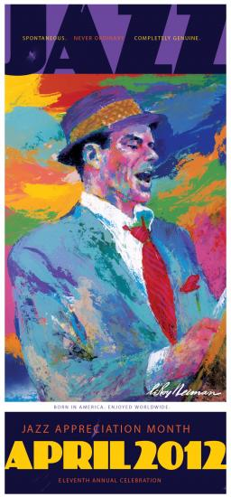 Color painting of Frank Sinatra singing, eyes closed