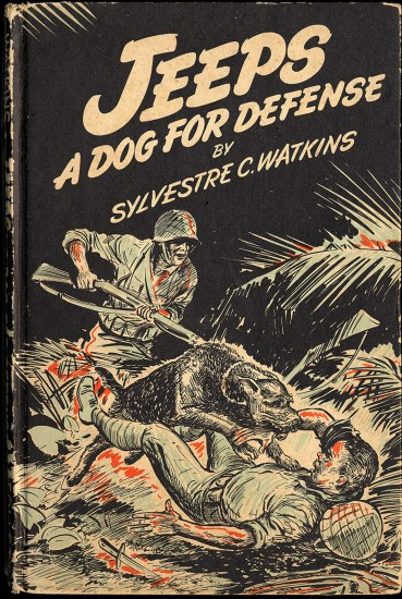 Cover of book. Illustrated in black, white, and red. A dog attacks a prostrate man. Behind him, a soldier with gun and helmet points gun at fallen man.