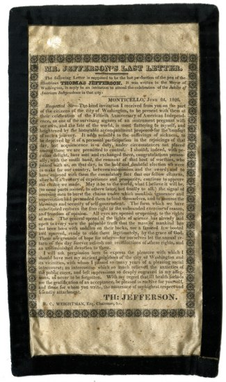 A yellowed newspaper clipping with a copy of Jefferson's last words fastened to a blakc ribbon. The article title is: Mr. Jefferson's Last Letter.