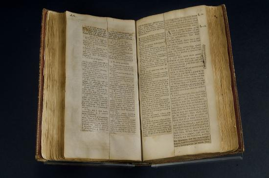 Bible with columns of text, open