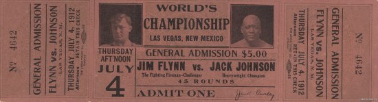 A faded red ticket for a world championship boxing match. There are small pictures of the boxers faces and black text with various information on it.