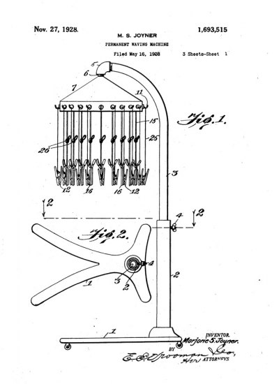 Patent drawing for Marjorie Joyner's permanent wave machine, 1928