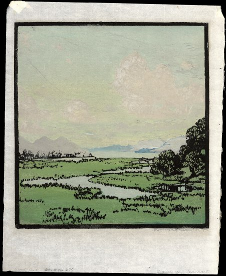 Color block print with mostly sky and clouds, marshlands