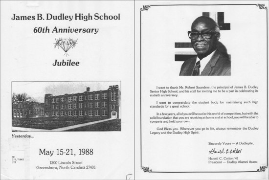 Scanned image of the James B. Dudley High School's 60th Anniversary Jubilee program, with a historical photo of the school on the program's front and a photograph of Harold Cotton, as well as his message of congratulations, on the program's interior.