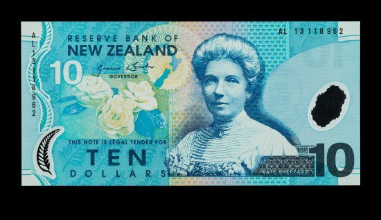 A piece of paper currency from New Zealand which is worth 10 dollars. It has shades of blues and greens on it. A woman who appears to be from the early 20th century is featured in the center.