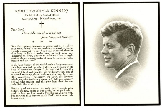 Mourning card for John F. Kennedy includes the message: Dear God, Please take care of your servant John Fitzgerald Kennedy. On the reverse is a portrait of Kennedy smiling.