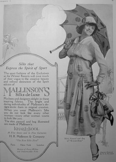 "Black and white ad with photo of woman in dress with polka dots and umbrella with polka dots. Text: ""Silks that express the spirit of sport."""