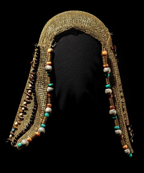 Gold fabric headdress with beads