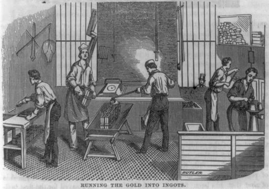 Black and white illustration. Men in aprons and work clothes using tools to do work.