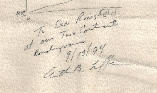 """A detail of the Laffer curve napkin reading """"To Don Rumsfeld at our Two Continents rendezvous 9/13/74 Arthur B. Laffer."""" The Laffer curve napkin is a folded white cloth napkin with writing on it."""