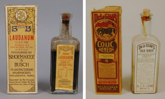 "Left photo: tall, yellow box with text ""Laudanum"" with illustration of cherubs. Beside it, a wide-shouldered bottle with brown liquid and label matching box. Right: tall yellow/orange box with text Dr. LeGear's Colic Remedy"" and image of horse. Beside it, clear glass bottle with cork stopper."