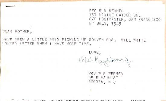 """Letter begins """"Dear Mother..."""""""