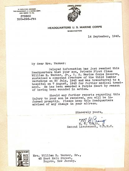 Letter on stationery from Headquarters of US Marine Corps. to Mrs. Werner.