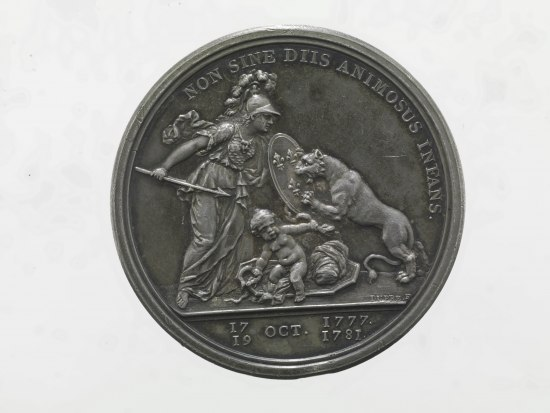 Coin with image of woman with shield protecting a small, naked baby against the attacks of a lion
