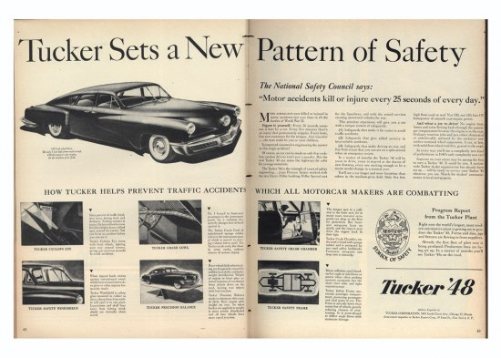 "Advertisement for the Tucker sedan, 1940s. The title declares: ""Tucker Sets New Pattern of Safety."""