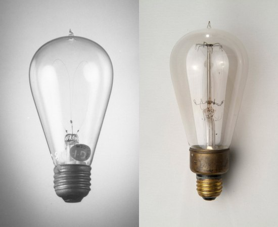 Two light-bulbs, the left image is rendered in black and white.